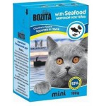 2103 BOZITA MINI кон. д/кошек кусочки в соусе Морской коктейль 190гр*16 в упак. Tetra Recart