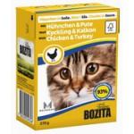 BOZITA Feline Chicken&Turkey, мясные кусочки в соусе с Курицей и Индейкой - 370г